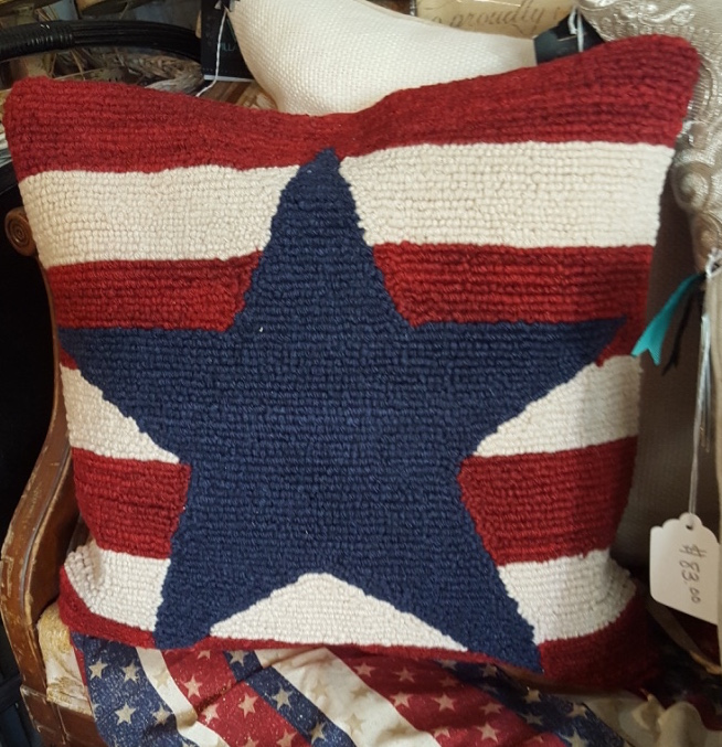 Needle point Stars & Stripes pillow $35 finished pillow $25 kit without pillow form