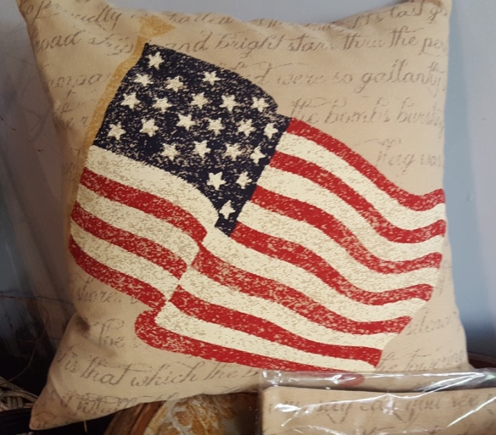 Muted tones waving flag pillow. $35 finished pillow $25 pillow kit without form