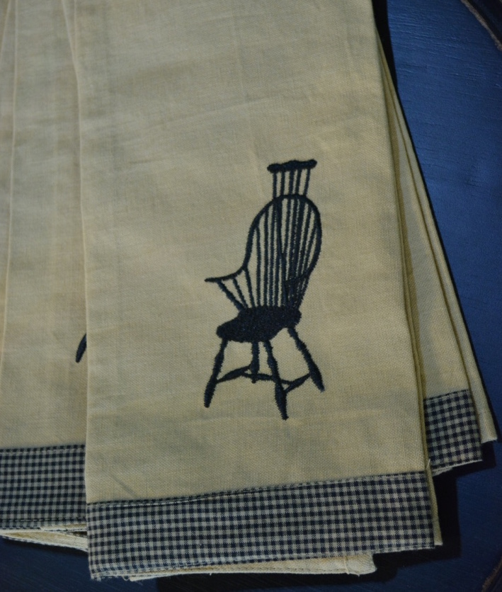 LaBella Casa carries a variety of unusual kitchen towels. For example, this set of towels featuring a Windsor chair.